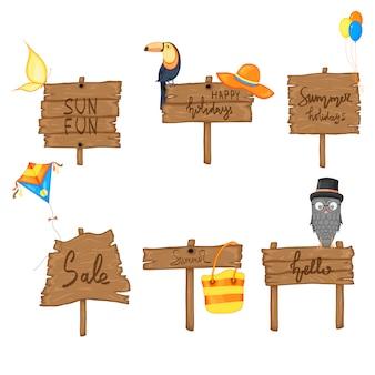 Ajuste o sinal de madeira do verão com espaço para o texto no fundo branco.