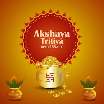 Akshaya tritiya festival indiano de promoção de venda de joias com pote de moedas de ouro e kalash tradicional