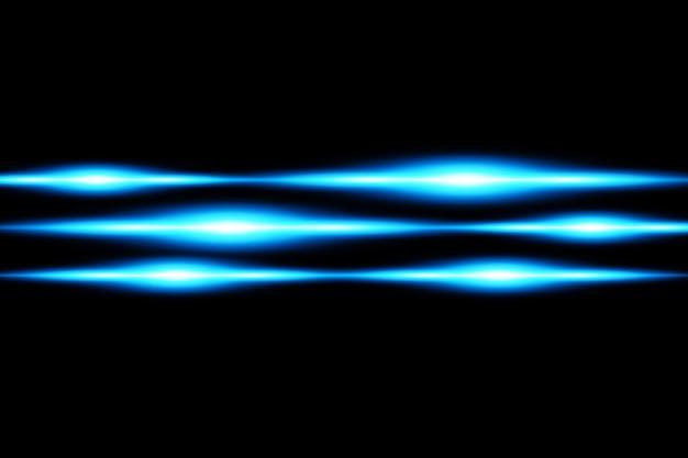 Alargamento de lente horizontal azul. feixes de laser, raios de luz horizontais.