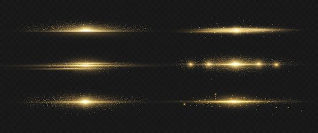 Alargamento de lentes horizontais amarelas. luz horizontal de feixes de laser