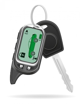 Alarme de carro remoto com ilustração vetorial de chaves de carro