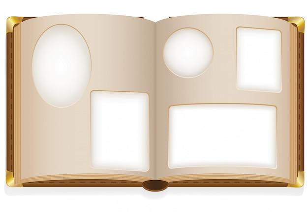 Álbum de fotos aberto velho com ilustração em vetor fotos em branco