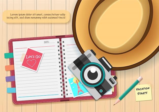 Álbum de scrapbooking, notebook com ícone de elementos e acessórios de viagem.