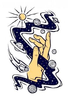 Alcançar a ilustração do universo