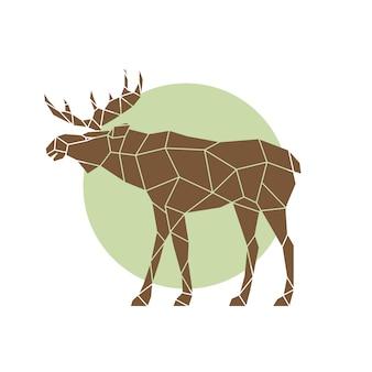 Alce abstrato poligonal animal selvagem