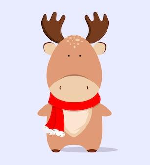 Alce de natal fofo em estilo cartoon