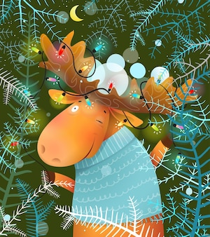 Alce ou alce celebrando a noite de natal com luzes de guirlanda