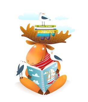 Alce ou personagem de alce lendo livro sobre vela