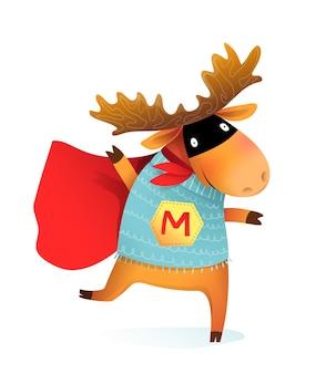 Alces de alces de super-heróis ou design de animais engraçados de renas para crianças. desempenho de festa de personagem animal corajoso e bobo usando máscara e capa, desenho animado para crianças.