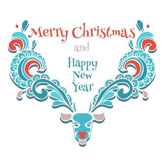 Alces de vetor ornamentais de cartão de natal. ícone de desenho decorativo em espiral de cervos