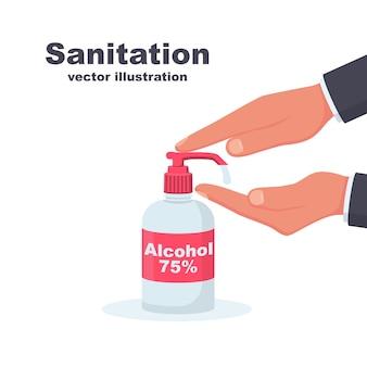 Álcool antibacteriano para lavagem das mãos 75. frasco de produto sanitário para higiene pessoal.
