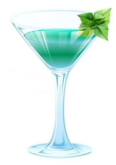 Álcool cocktail com folhas de hortelã verde