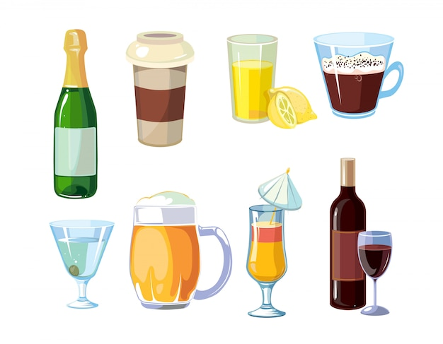 Álcool e bebidas não alcoólicas com garrafas, copos