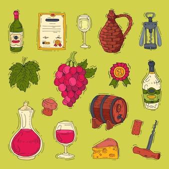 Álcool em garrafas de vinho da adega e copo de vinho com conjunto de ilustração de uva ou videira de adega isolada no fundo