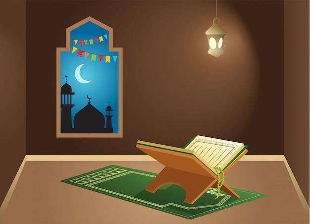 Alcorão sagrado na sala de adoração