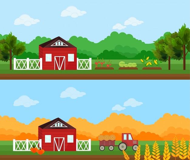 Aldeia agrícola no verão e outono