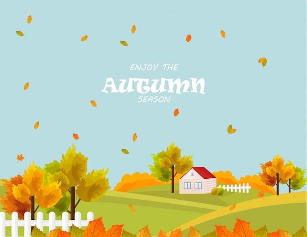 Aldeia da fazenda na temporada de outono