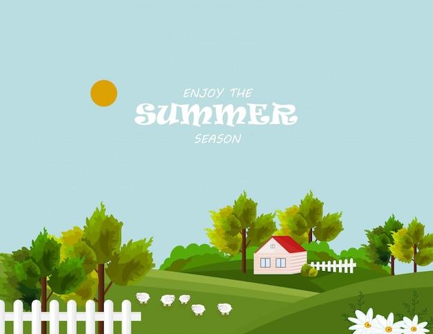 Aldeia da fazenda no verão