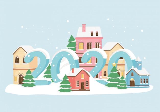 Aldeia de ano novo 2020 cartão casas neve