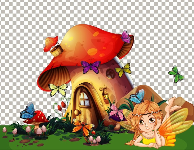 Aldeia de casas de cogumelos com tema de conto de fadas em fundo transparente