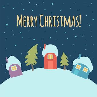 Aldeia de inverno feliz natal na noite de neve