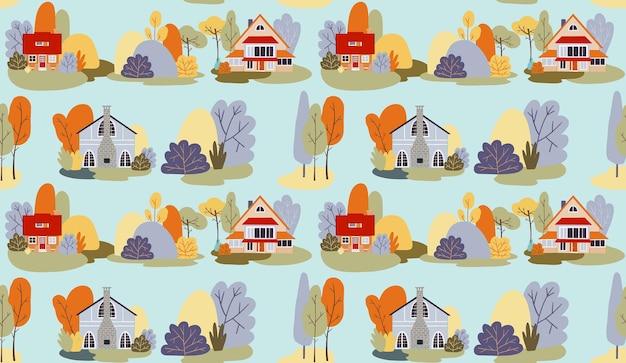Aldeia de outono de padrão sem emenda de vetor com árvores de casas de campo