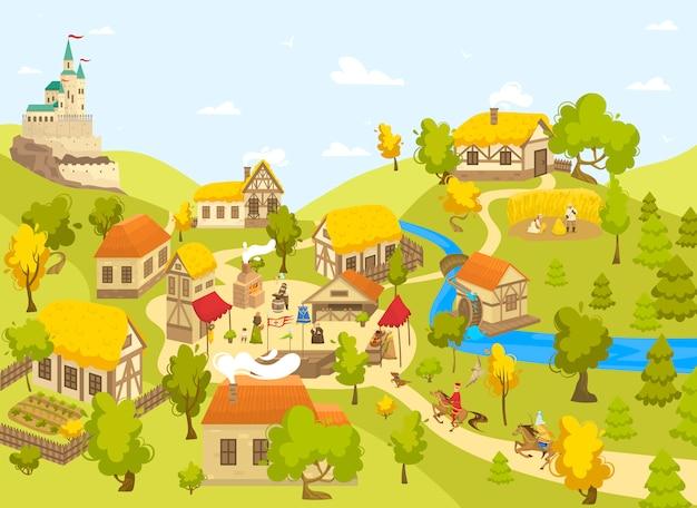 Aldeia medieval com castelo, casas de madeira e pessoas na praça do mercado, ilustração