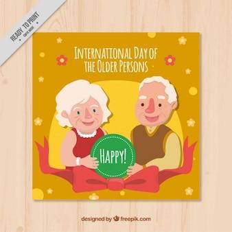 Alegre cartão de idosos