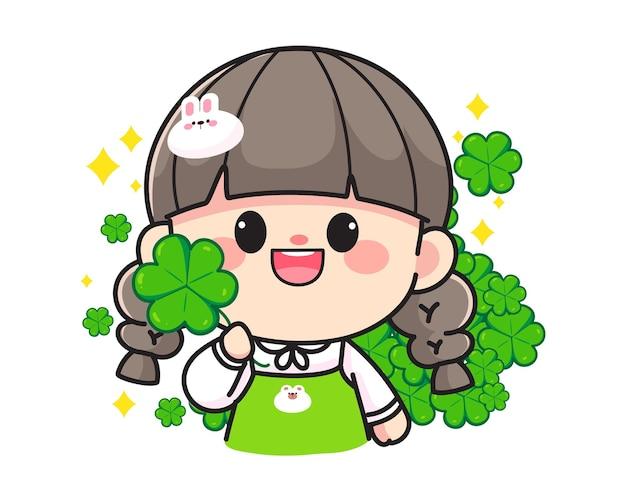 Alegre e feliz garota bonita segurando folhas de trevo com logotipo desenhado à mão ilustração da arte dos desenhos animados
