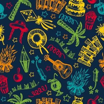 Alegre feriado fogo de viagens cenografia padrão de fundo ilustração jardim decoração elementos celebração noite escura chapéu feliz de quinta tradicional ícone de palha partido palma bandeira de aldeia carrinho emenda festiva santo milho bandeiras festival popular de layout grinalda lanterna julho brasil sao festa brasileira junho de piquete brasil festa caipira joão junina desenhado à mão carnaval