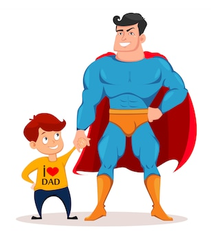 Alegre filho e pai em traje de super-herói