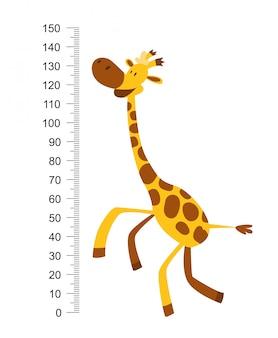 Alegre girafa engraçada com pescoço comprido. medidor de altura ou medidor de parede ou adesivo de parede de 0 a 150 centímetros para medir o crescimento. ilustração infantil