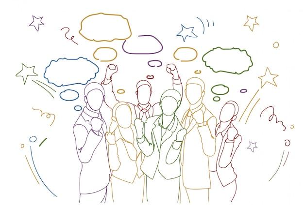 Alegre, grupo, de, businesspeople, segurando, levantado, mãos feliz, sucedido, equipe, colorido, doodle, silhuetas