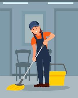 Alegre mulher limpando chão no corredor. uniforme de trabalho jovem. ilustração plana colorida