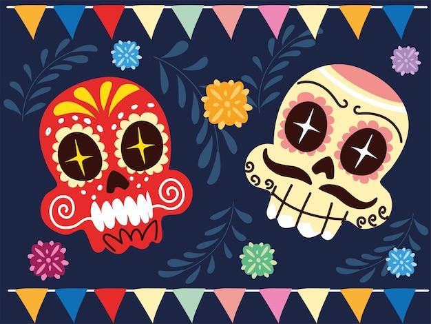 Alegres caveiras mexicanas, desenho de cartaz de celebração mexicana