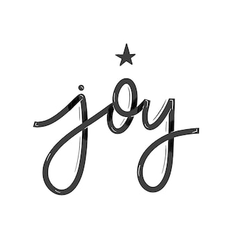 Alegria. cartão com caligrafia. mão desenhada letras modernas.