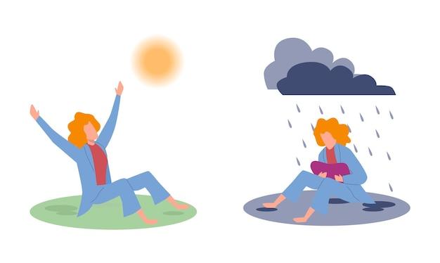 Alegria e tristeza. mulher triste sob a chuva de nuvens e mulher feliz sob o sol, emoções negativas e positivas antes e depois da psicoterapia, bons ou maus sentimentos, ilustração em vetor plana dos desenhos animados