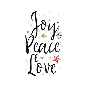 Alegria paz amor. banner de férias - slogan de ano novo
