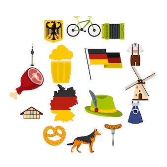 Alemanha definir ícones planas
