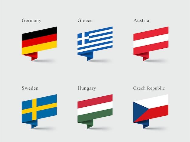 Alemanha grécia áustria sinalizadores de formas de fita dobrada em 3d