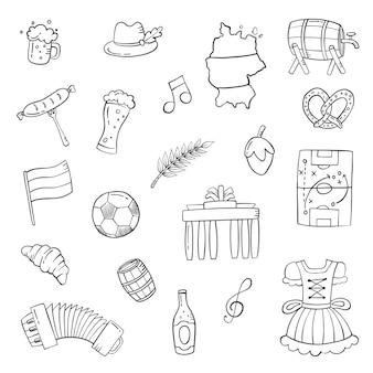 Alemanha país país doodle conjunto desenhado à mão coleções com ilustração em vetor contorno estilo preto e branco