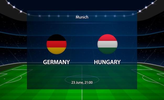 Alemanha vs hungria placar de futebol. Vetor Premium