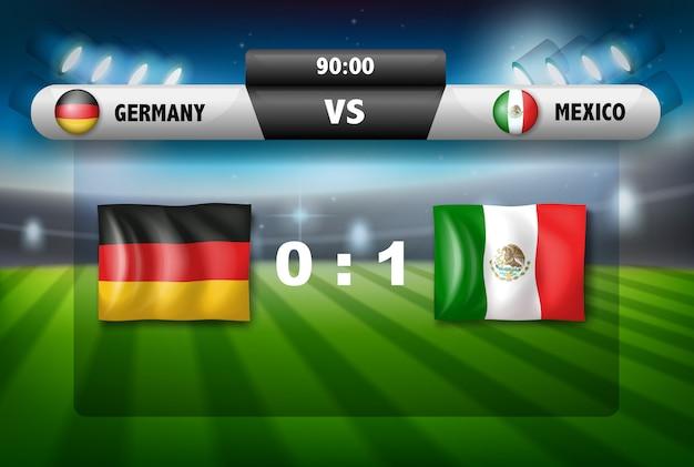 Alemanha vs placa de futebol do méxico