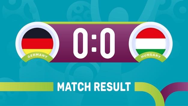 Alemanha vs resultado da partida da hungria, ilustração do campeonato europeu de futebol de 2020.