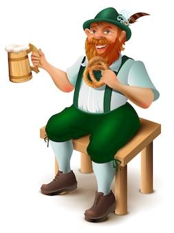 Alemão em traje tradicional com barba ruiva bebe cerveja. festival de cerveja da oktoberfest