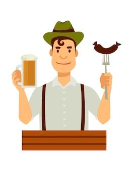 Alemão no chapéu verde com salsicha no garfo e cerveja