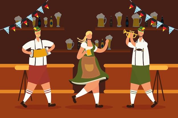 Alemão vestindo terno tirolês, bebendo cerveja e tocando instrumentos no design de ilustração vetorial de bar