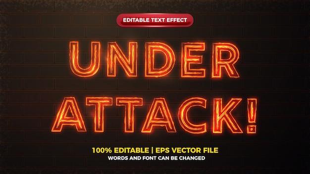 Alerta de ataque, brilho elétrico laranja e efeito de texto editável em negrito