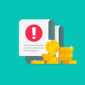 Alerta de aviso de erro de transação de dinheiro em fatura de fraude de documento