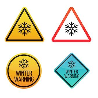 Alerta de clima de inverno. rótulos de sinais de aviso. amarelo e vermelho isolado no fundo branco